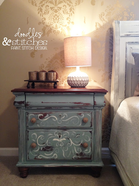 Hand Painted Nightstand Doodles Amp Stitches